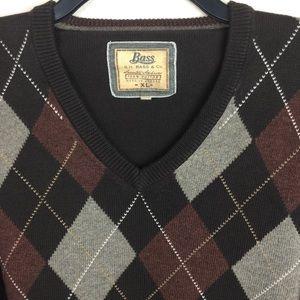 Bass Men's Argyle Pullover Sweater XL